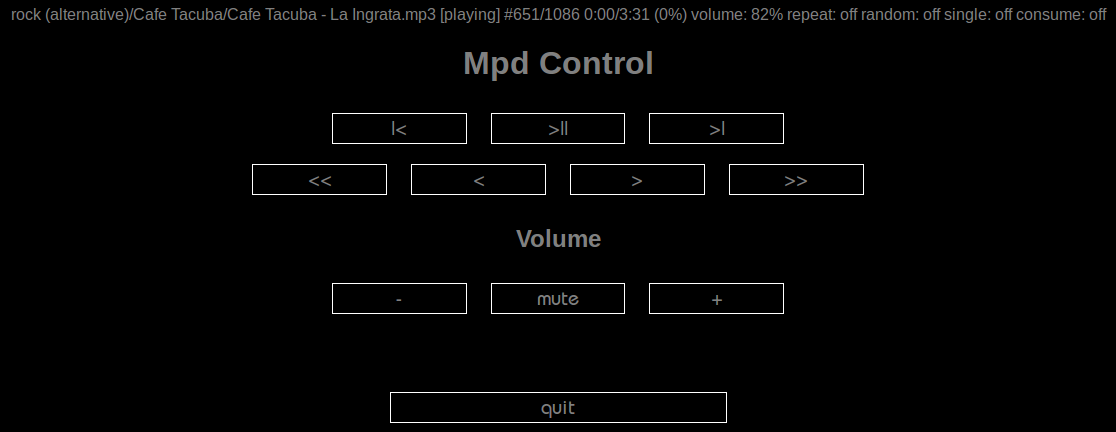 a simple mpc web interface